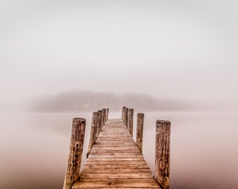 Boat Dock on a Foggy Morning - Horizontal Orientation