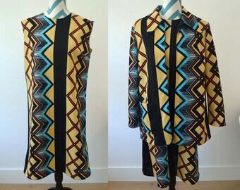 Vintage 1960s Dress Jacket Set - Sleeveless Shift Dress and Long Jacket Suit Printed Chevron Geometric Pattern in Yellow Black & Blue Large