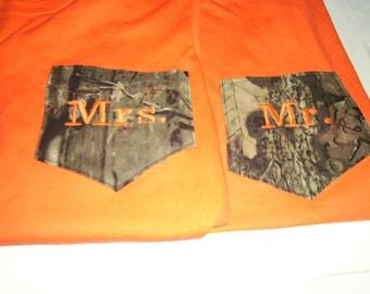 Wedding, T Shirts, Camo, MR & MRS, shirts, New Bride and Groom,  (2) photo shoot for wedding, Mossy Oak pocket, Honeymoon shirts, wedding