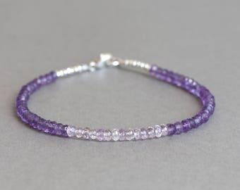 Amethyst Bracelet Beaded Bracelet  February Birthstone Silver Bracelet Pink Amethyst Bracelet Purple Gemstone Bracelet