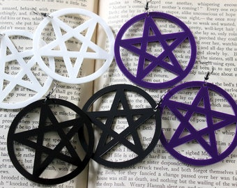 Large Acrylic Large Pentacle Earrings Black Purple White - Halloween Goth Witchy Psychobilly Pentagram