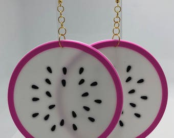 Giant huge Kitch fruit charm dragon fruit slice earrings gold colour hooks A222 silicone
