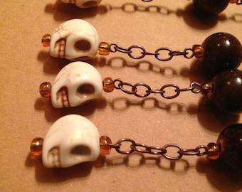 Skull Halloween Shower Curtain Decoration for Bathroom.  White. Brown. Bronze. Ceramic. Howlite.