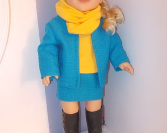 Americangirl, skirt set,blue,yellow  doll 18 inches