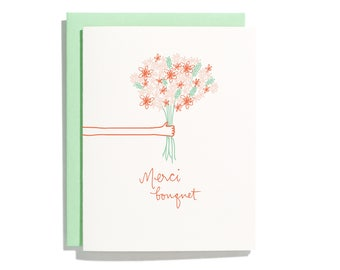 Merci Bouquet - Letterpress Thank You Card - CT280