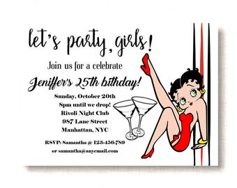 Party on with Betty Boop Invitation, Betty Boop Birthday Invitation, Adult Birthday Invitation, Instant Download, Pdf Download