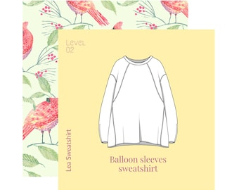 sweatshirt for women, Sewing pattern pdf with clear visual instructions in English ,PDF pattern,sizes 42,44,46,48,50, patternWith tutorial