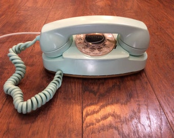 1963 refurbished, working Princess Phone in sea foam green