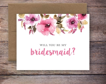 Printable Will You Be My Bridesmaid Card - Instant Download Greeting Card - Will You Be My Bridesmaid - Wedding Card – Brittney