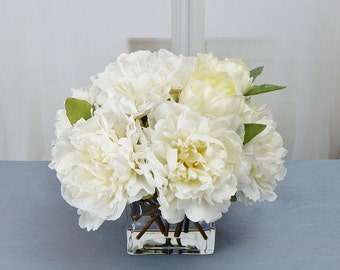 White/cream, silk, peony/peonies, glass vase, faux water, acrylic/illusion, Real Touch flowers, floral arrangement, centerpiece, gift, decor
