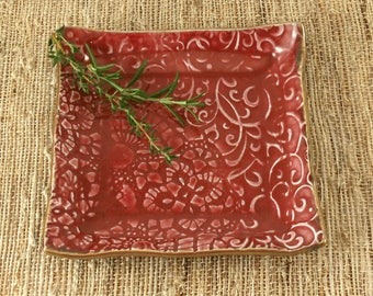 Jewelry Dish, Handmade Ring Dish, Trinket Dish, Red Pottery Plate, Ceramic Plate, Soap Dish, Gift for Her, 367