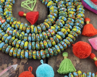 Blue Yellow Sandcast African Ghana Glass Beads, Mosaic Rondelle Beads 14x6mm, Jewelry Making Supplies, Large Hole Necklace Beads, 80 pcs