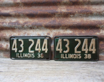 Vintage License Plate Illinois 1938 Matched set of 2 Green & White 1930s Era Car Truck Automobile Rusted and Naturally Distressed Man Cave