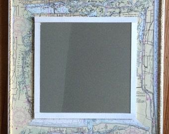Vintage Nautical Chart Mirror Beach Coastal Rope Sailing Map