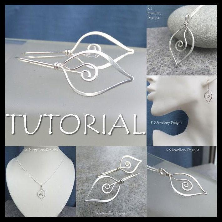 Wire Jewelry Tutorial - SWIRL LEAVES (Pendant & Earrings) - Step by ...