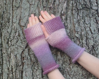 Pink Purple wool fingerless gloves, texting gloves, knit wrist warmers boho accessory boho gloves, fingerless mitts, hand made in usa /Ready