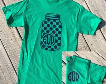Monogrammed Polka Dot Mason Jar Shirt. Southern Shirt. Mason Jar Shirt. Monogrammed Shirt. Concert Shirt. Country Girl. Country Shirt.