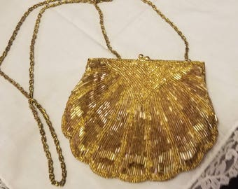 Vintage Gold beaded evening bag Made by La Regale