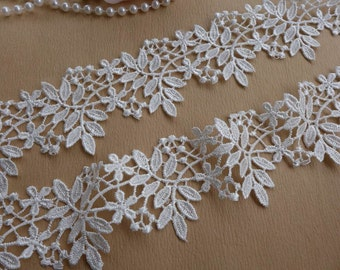 Ivory Venice Lace Trim Pretty Leaf Floral Trim Bridal Wedding Sash Lace Supplies 2.16 Inches Wide 2 Yards
