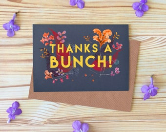 Thanks a Bunch Greetings Card, Thank You Flowers Card, Illustrated Typography Card