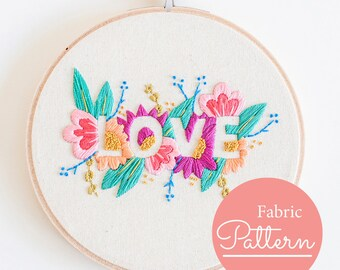 LOVE ~ Pre Printed Fabric Embroidery Pattern ~ Do it Yourself Embroidery Pattern
