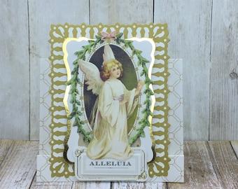 Christmas Gift Card Holder, Handmade Christmas Card, Angel Card, Unique Greeting Card, Customizable Christmas Card
