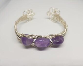 Wire wrapped amethyst bracelet