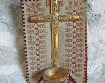 French benitier, unusual gold metal crucifix on embroidered felt background with Holy Water font