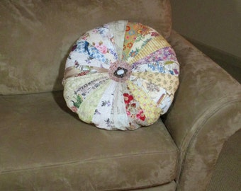 """Quilted Round Sprocket Pillow Large  20"""" Shabby Chic Cottage Pillow Quiltsy Handmade"""