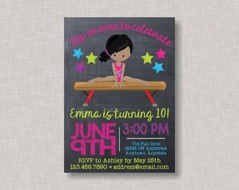 Gymnastics Invitation, Gymnastics Birthday Invitation, Gymnastics Party, Gymnastics Birthday, Tumbling Invitations, Chalkboard Invitation