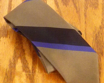 "vtg 50s 60s Wembley olive/black/blue Stripe Silk Skinny Tie rockabilly 56"" 2.25"""