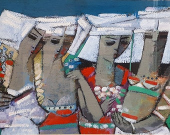 Endre Roder (b1933-) original acrylic painting Four Acolytes English listed artist teacher family wife lawyer divorce wedding new home gift