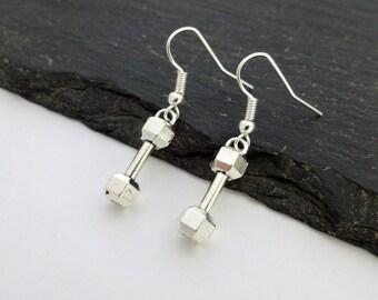 Dumbbell Earrings, Fitness Earrings, Gym Earrings, Dumbbell Jewelry, Sport Earrings, Fitness Jewellery, Gym Jewellery, Dumbbell Gifts, Gift