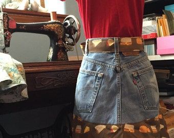 Upcycled Blue Jean Apron with Fun Grilled Cheese Print