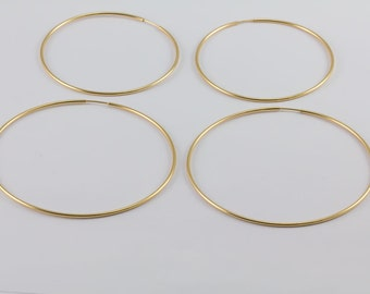 Endless Large Hoop Earrings, 14k Gold Filled, 50mm, 65mm, Sterling Earrings, Yellow Gold, Large, Extra Large, 1.25mm Thickness, GFER88