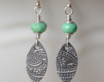 Marquis Fine Silver Earrings Paisley Textured Marquis Charms Sterling Silver Gemstone Jewelry Chrysoprase Gemstones