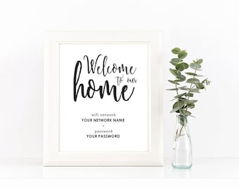 Black and White Welcome To Our Home Wifi Password Printable Instant Download Wall Art for Guest Room