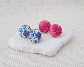 Liberty Of London Fabric Covered Button Earrings, Button Stud Earrings