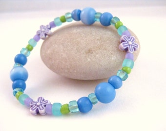 Blue, Purple and Green Bracelet with Purple Flowers, Large Girls Stretch Bracelet, GBL 111