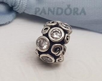 Retired Authentic Pandora Spot & Swirl Charm Clear Primrose Path Bead 790330CZ