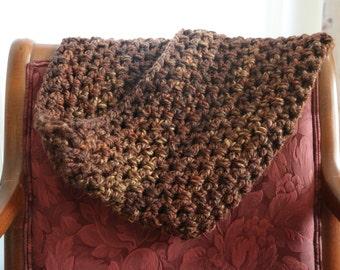 Handmade Crocheted Chocolate Brown Cowl Scarf