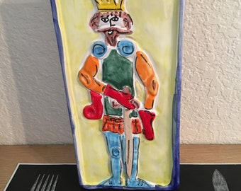 Handmade in Italy Hand Painted Valet Tray/Wall Hanging/ King of The Castle
