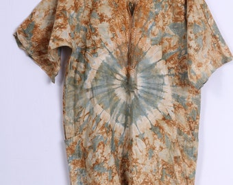 Hippie Mens S Shirt Brown Multi Printed Flower Power Peace