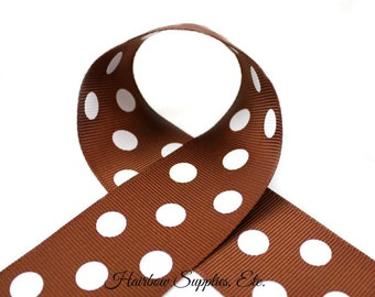 Brown with White Polka Dots 1-1/2 inch Grosgrain Ribbon - Polka Dot Ribbon, Polka Dot Hair Bow, Polka Dot Bow, Ribbon By The Yard