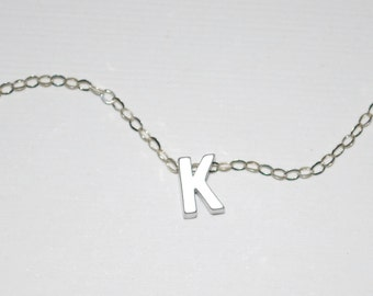 Initial necklace, tiny letter necklace, silver letter necklace, dainty jewelry, silver letter necklace, Mommy necklace