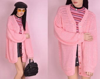 VTG Light Pink Crochet Cardigan Sweater/ XXL