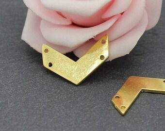 8 connectors chevron 21 x 14 mm BD42 gold metal
