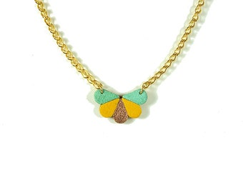leather butterfly necklace yellow, mint and rose gold color