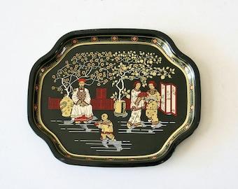 Vintage Asian Motif 4 Tin Trays, Black, England