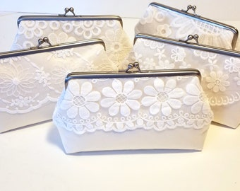 One of a Kind Set of Ivory Clutch   Lace Bridesmaid Clutch Gift Set of 5   Wedding Clutch Set   Vintage Style Lace Clutch   8 inch Clasp